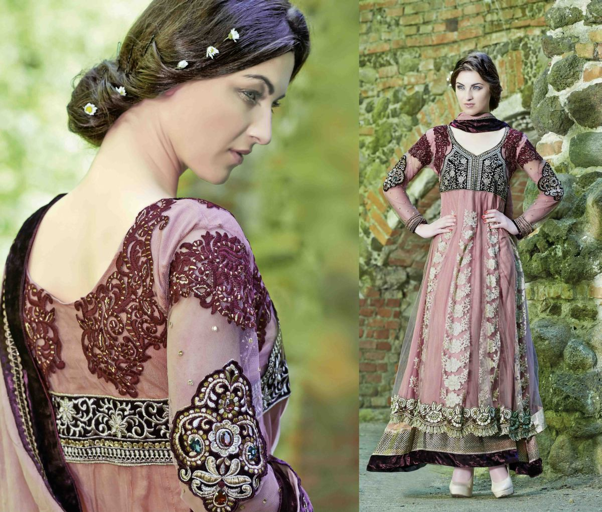 Triveni Mind-blowing Velvet Bordered Net Anarkali Suit 2007