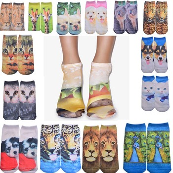 Wholesale fashion girls animal 3d printed invisible tube socks