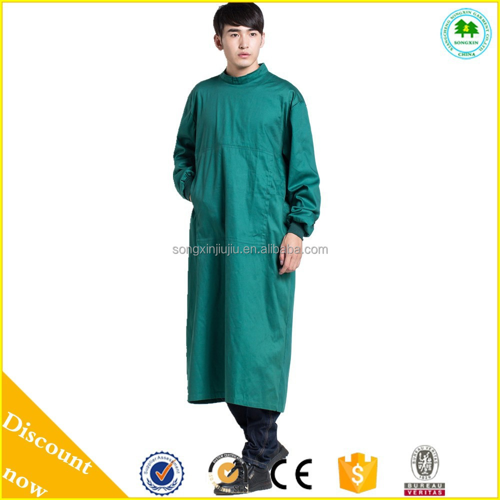 Hospital clothing water blood repellent medical doctor gown,100% cotton hospital gown, surgical gown