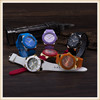 Customized colors silicone rubber metal couple wrist watch