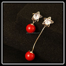 Korean Latest Design Ball Shape Red Coral Crystal Asymmetry Drop Earrings For Women