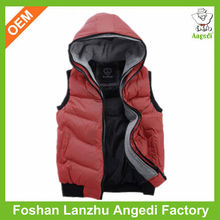 2016 OEM Children cotton outer vest with zipper-up and hoodie in good price and fast delivery