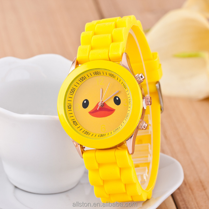Geneva silicone watch hot burst of rhubarb duck small yellow duck cartoon children men and women paragraph watch