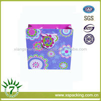 Flower Blossom Blue Printing Pink Cord Handle Art Paper Gift Box Shopping Bag On Sale!