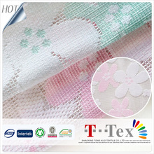 cheap price New fashion production 100% polyester jacquard brocade small check mesh lace design fabric for child garment