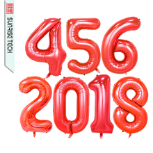 "40"" large red light helium foil balloon for birthday party"