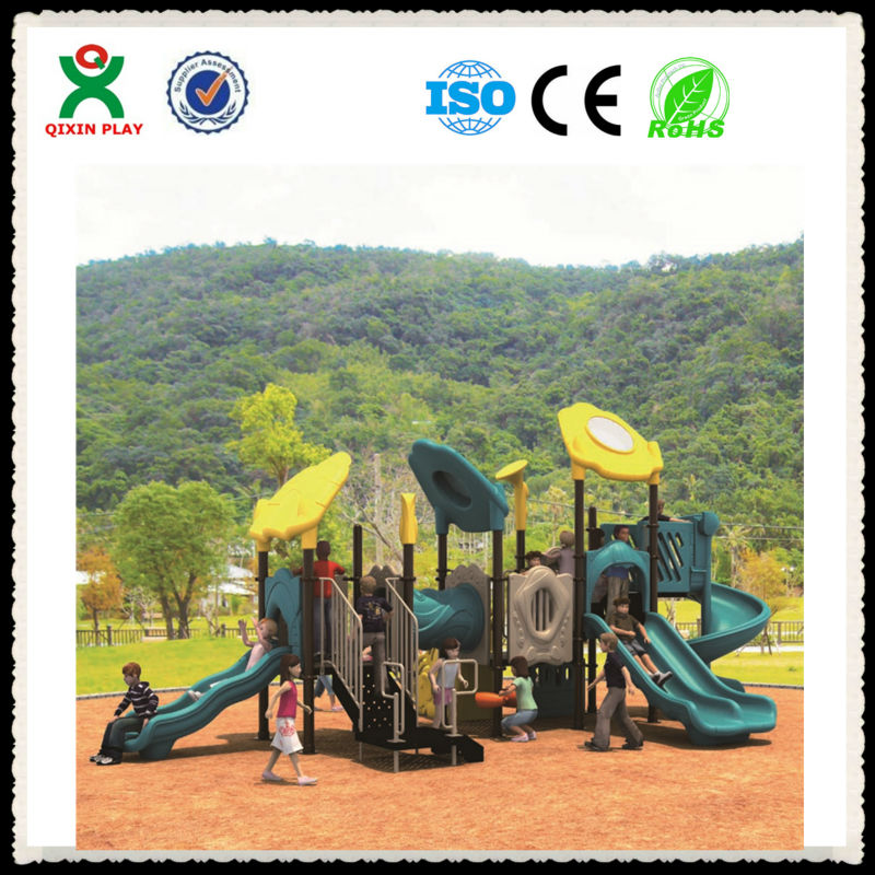2016 eco-friendly plastic toy mall playground equipment commercial playground slide for child toy QX-B0702