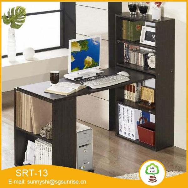 simple design cheaper price wooden computer table with bookshelf buy