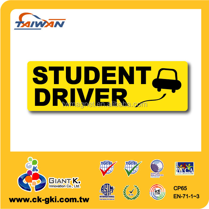 Promotional custom magnetic sticker student car driver signs