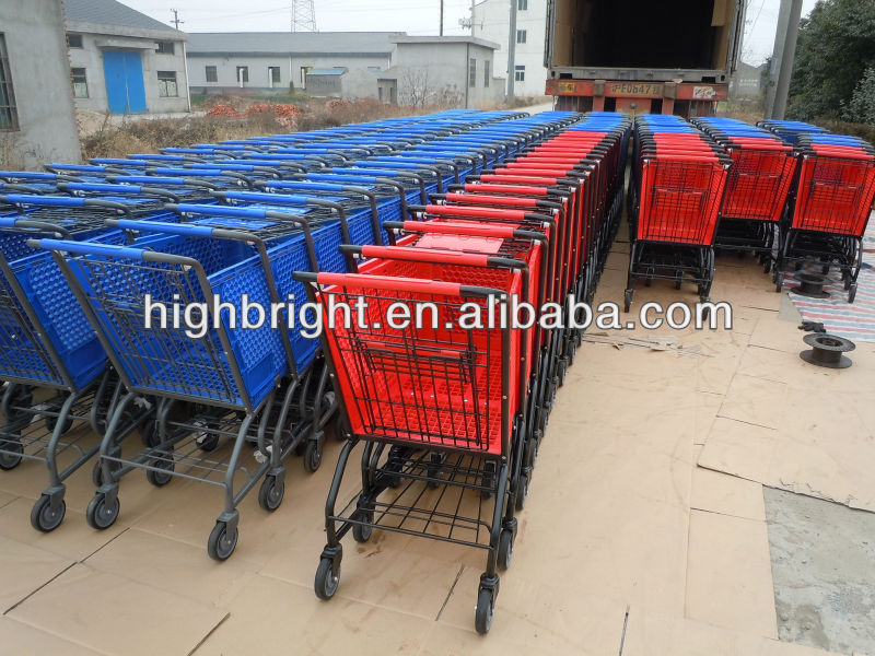 Stainless steel frame awesome Supermarket Grocery Store all Plastic Shopping trolley  for hypermarket