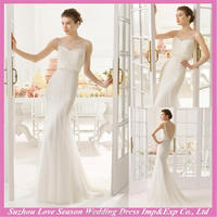 WD9125 2015 latest made in China illusion neckline beaded patterns bodice tulle mermaid backless modern backless wedding dresses