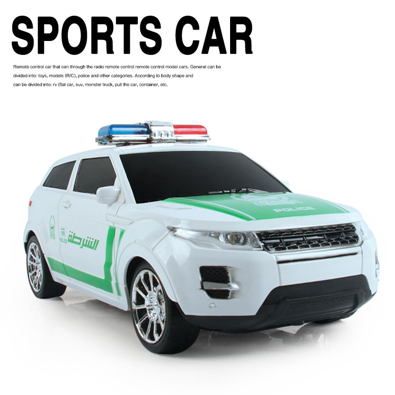 2.4G 4CH RC Car Land Rover Scale 1:16 LED Lighting Police Car Remote Control Model EN71 Toys for Kids