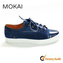 J001-16 DARK BLUE genuine leather flat shoes best selling fashion sneakers man and woman