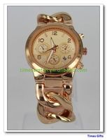 2016 New vogue Online wholesale Famous M Full Gold Watch women link watch New popular lady Watch