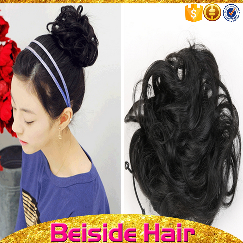 High quality culy bun hairpieces black synthetic hair bun for black women