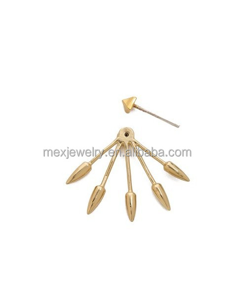 Fashion cheap 18k gold plated unique punk brand name women stud earring