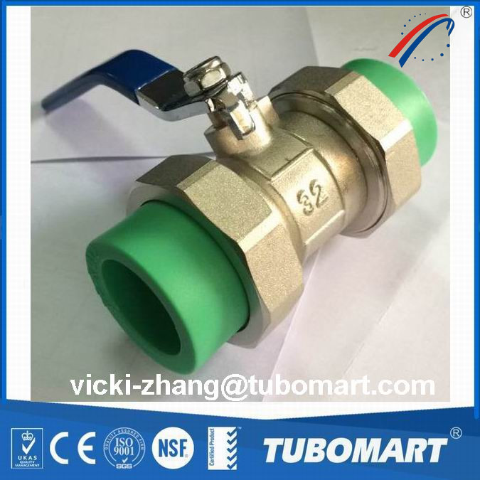 good quality ppr valve with PPR double union 32mm brass body brass core factory price