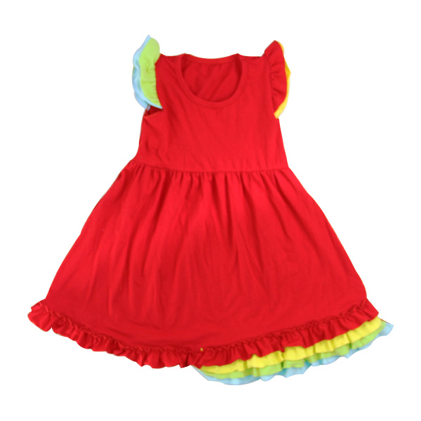 Wholesale 2016 New Girl Fashion RuffleBaby Girls Cotton Dress Summer Beach Dress Toddler red tube top tutu dress