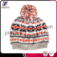 Fashion winter children wool felt hats with pom pom crocheted hat (Accept the design draft)
