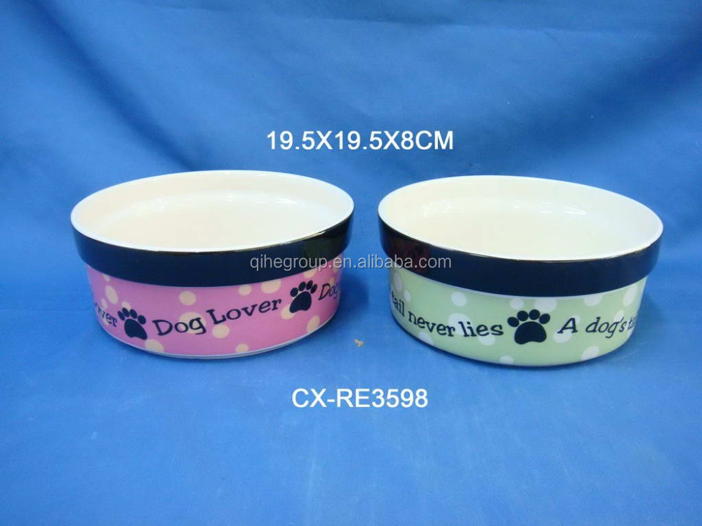 Promotion floor stoneware cat dog feeder ceramic pet bowls