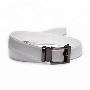Latest Design White 3.5CM Automatic Click Buckle Mens White Leather Ratchet Belt