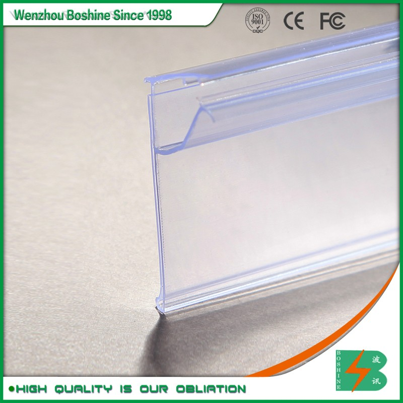 Boshine Plastic PVC Extruded Data Strips Label Holders for Glass Shelving