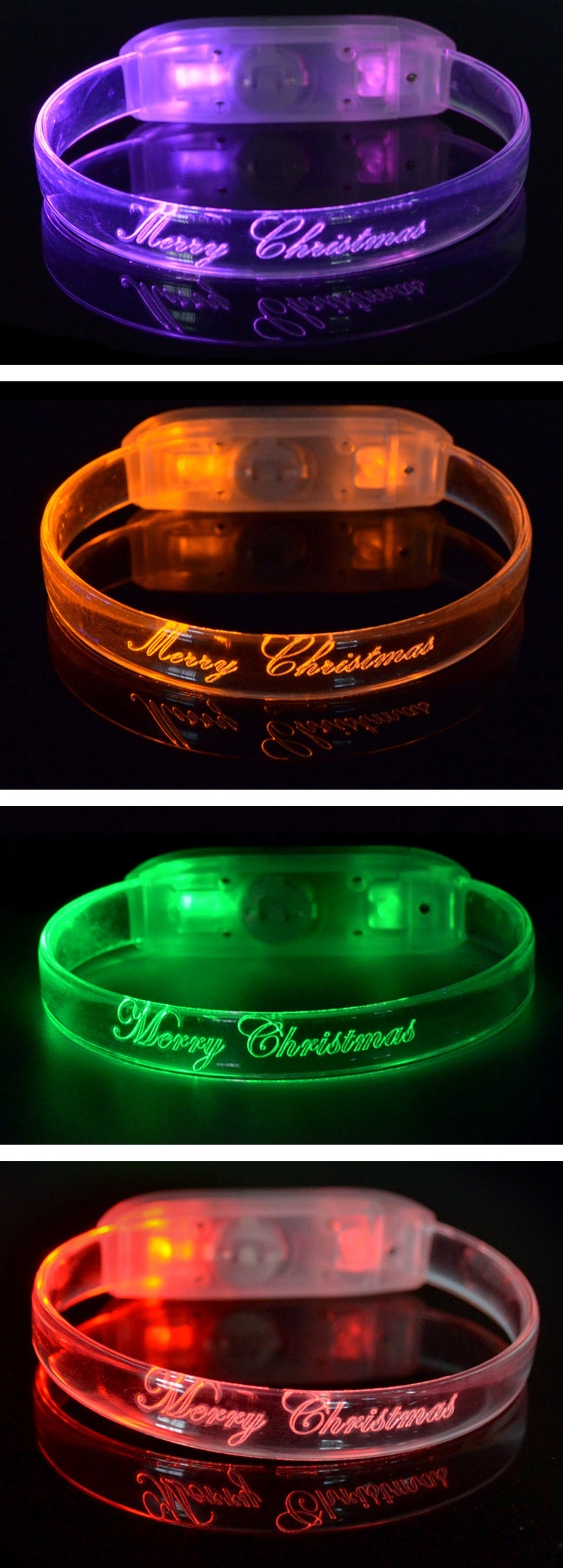 Factory Best Products Fashion Christmas Gifts Led Light Up Flashing Wristband TZZ-W230M