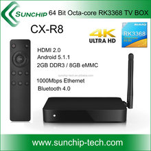 CX-R8 64bit Octa core RK3368 4K smart TV BOX Dual Band WIFI 2.4G & 5G AP6330 Bluetooth 4.0