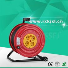 IP20 European standard 4 outlet multi sockets Extension Cord electrical steel retractable large 50m cable reel drum