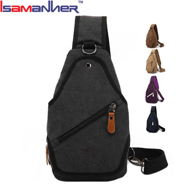 Alibaba China different colors trendy triangle travel men canvas sling bag