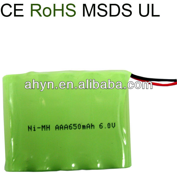 6.0V aaa 650mAh NiMH rechargeable battery pack for Cordless phones