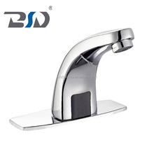 No handle control chrome deck mount with back plate bathroom automatic infrared wash basin faucets brass sensor faucet