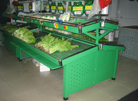 Good quality green supermarket fruit and vegetable display rack