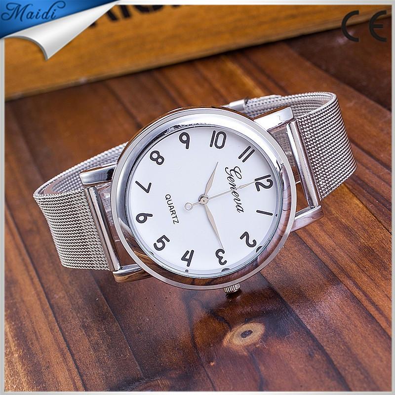 Women Men Elegant Casual Steel Mesh Quartz Watches Ladies Gift Geneva Men Wristwatch Silver 2017 GW076