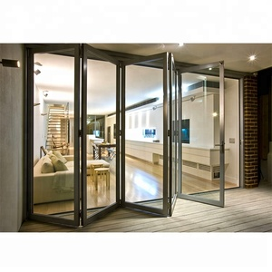 luxury modern soundproof exterior aluminum thermal break profile double glass bi-fold accordion screen stacking folding doors