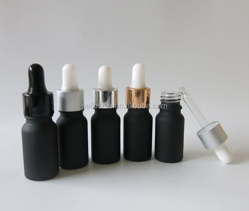 10 ml Frosted glass bottle for e liquid essential oil black glass dropper bottle