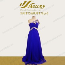 Chiffon blue beaded anomalous strap women evening dress online shopping