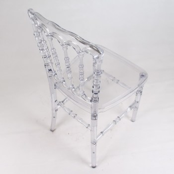 Commercial Crystal Clear Resin Plastic Napoleon Chair for Wedding