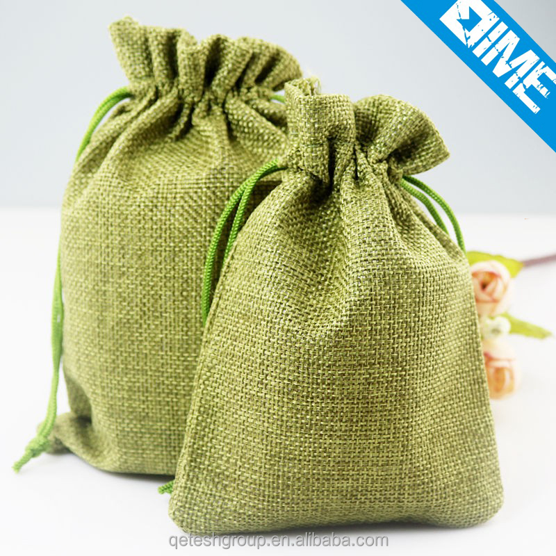 Low MOQ Custom Jute Reusable Drawstring Gift Bags