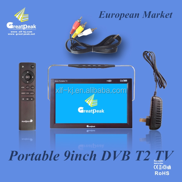 High quality 9 inch portable T2 TV with DVB T2 box XLF-TV-001