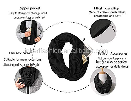 Wholesales Women Portable Foldable Travel Hidden Zipper Pocket Infinity Scarf