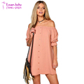 Sexy Loose Slash Neck Dress 2017 Summer Women Mini Shirt Dresses With Button Half Sleeve Casual Vestidos