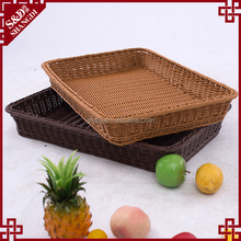 Customized hand woven empty plastic rattan fruit display tray / basket