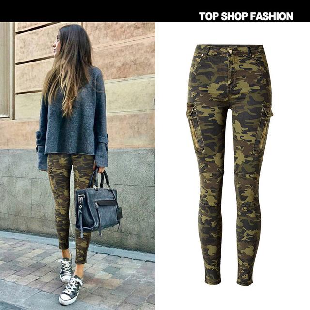 X62014A Cargo Pockets Camo Print Women Skinny Jeans Military Camouflage Stretch Denim Pants