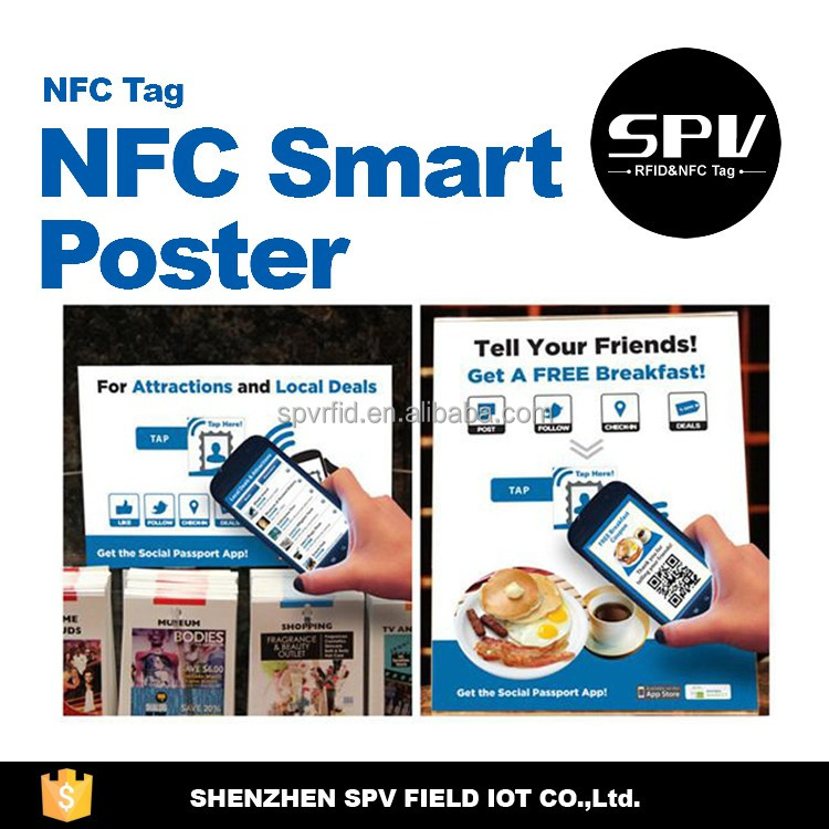 Waterproof NTAG215 ISO14443A 13.56MHz NFC Coated Paper/PET/CPC Poster for Data Transfer/E-pay/Tickets
