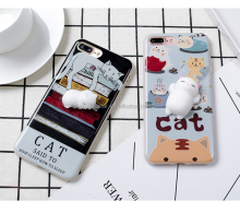 Hot Design Squishy Animal Toys Custom 3D Silicone Nail Finger Pinch Cat Phone Case for iPhone 8