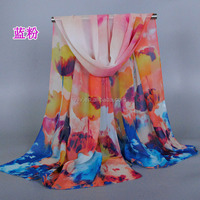 Oil painting Design Chiffon Scarf Female Luxury Brand Shawl Neck Wrap Scarves for Women
