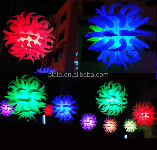 Customized colorful inflatable hanging led decorative star balloons