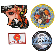 Embroidered on sublimation printed background badges