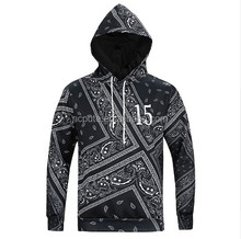 OEM Men's Bandana Hip Hop Hoodies and Sweatshirts Men Autumn Sudadera Hombre Paisley Black Sweat Homme Pullover Brand Clothes